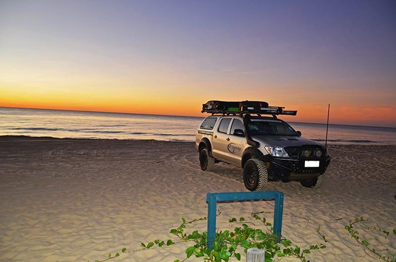 Sandy Cape sunset over the sea
