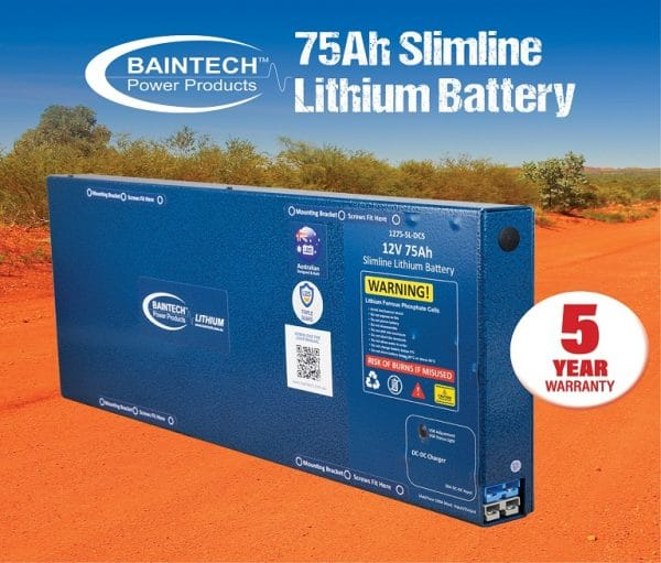 12V 75Ah Slimline Lithium Battery with in-built 20A DC-DC